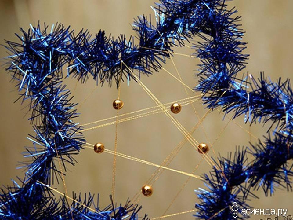 Новогоднее украшение из дождика своими руками