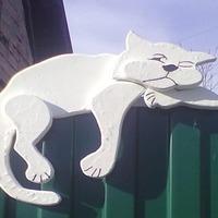МК по изготовлению котика на заборе