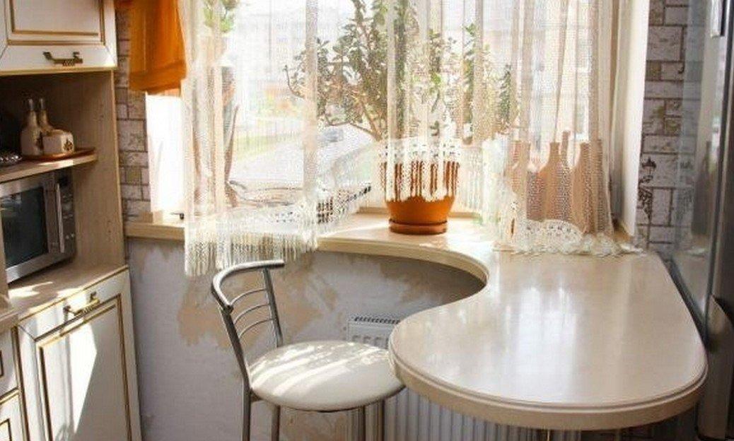 Подоконник-столешница на кухне: фото кухонных столов.