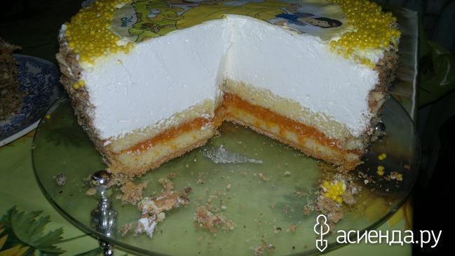 Торт бисквит со взбитыми сливками и фруктами