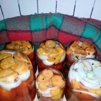 Маринованные помидоры, два рецепта (ассорти и с ботвой морковной).