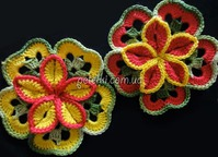 Любителям вязания. Объёмный цветок из квадратов. М. К.