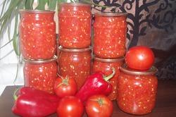 Заправка на зиму из помидор и перца