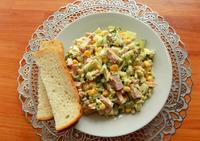 Сырный салат с колбасой и яйцами. Видео рецепт приготовления