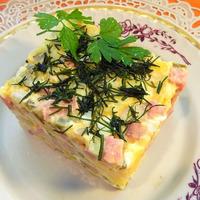 Классический зимний салат оливье с колбасой. Видео рецепт