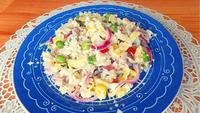 """Салат из замороженной """"Гавайской смеси"""" овощей"""