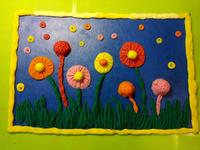 """Картина из пластилина """"Весенние цветы"""" в технике пластилинография."""